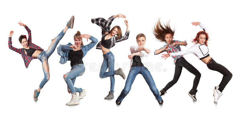 Young modern dancing group practice dancing royalty free stock images
