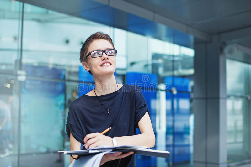 Young modern female worker royalty free stock photo