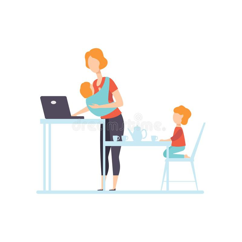 Young Mom with Baby in Sling Working on Laptop Computer, Her Oldest Daughter Playing Next To Her, Freelancer, Parent. Working with Child, Mommy Businesswoman vector illustration