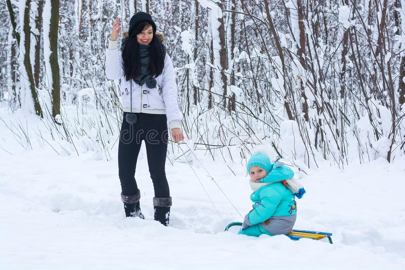 Young mom carries her child on a sled in a winter park stock photos