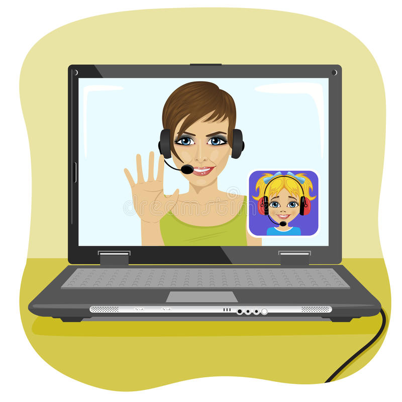 Young mom chatting with her daughter via internet. Video call and chat concept. Modern communication technology. Young mom chatting with her daughter via the vector illustration