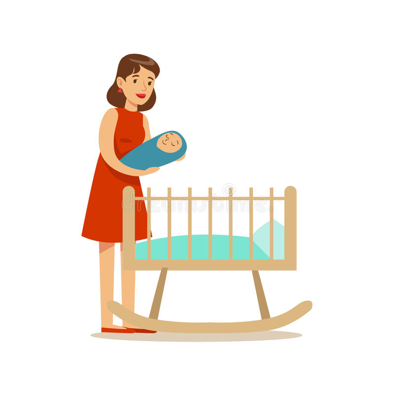 Young Mom Putting Newborn Baby To Bed, Happy Family Having Good Time Together Illustration stock illustration