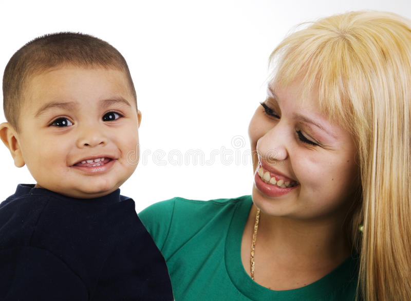 Young mom and son. Portrait of a happy young mom and son royalty free stock photos
