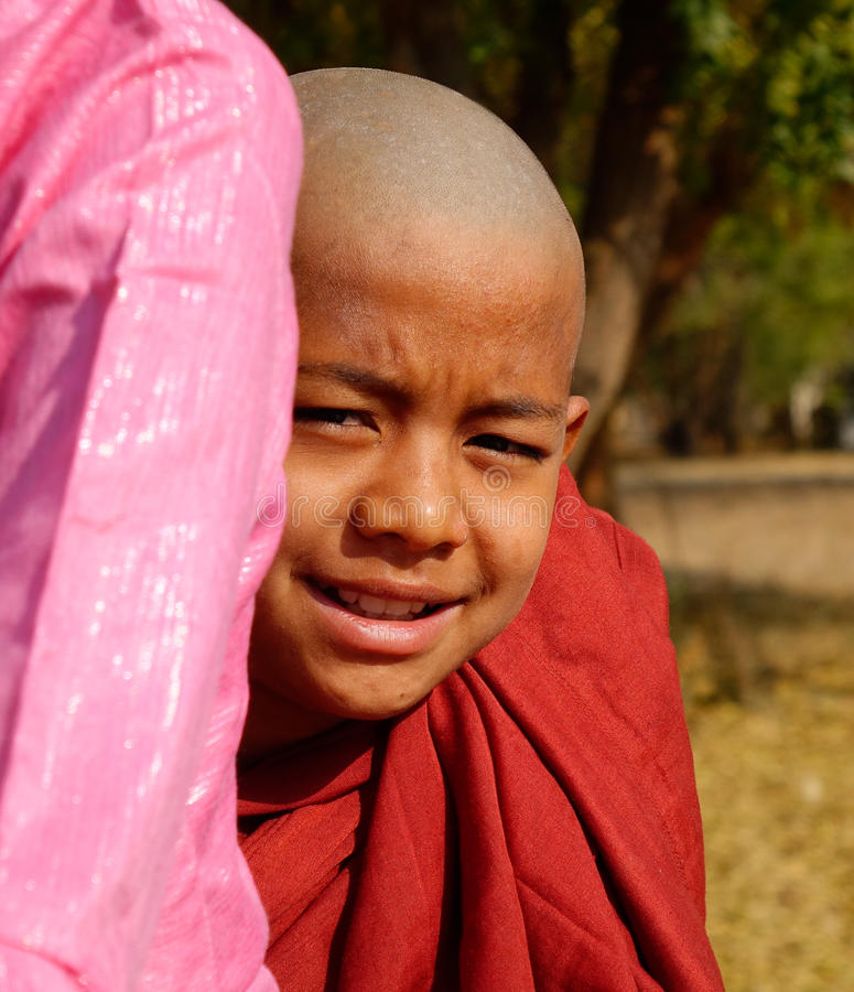 A young monk in Bagan, Myanmar stock photos