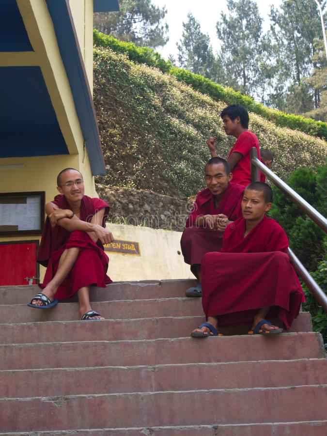Young Monk in the temple, Gangtok City,Sikkim INDIA , 16th APRIL. 2013 royalty free stock photos