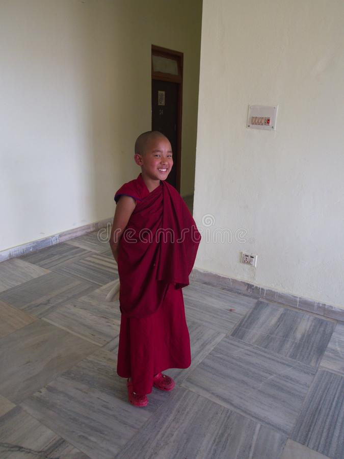Young Monk in the temple, Gangtok City,Sikkim INDIA , 16th APRIL. 2013 royalty free stock photography