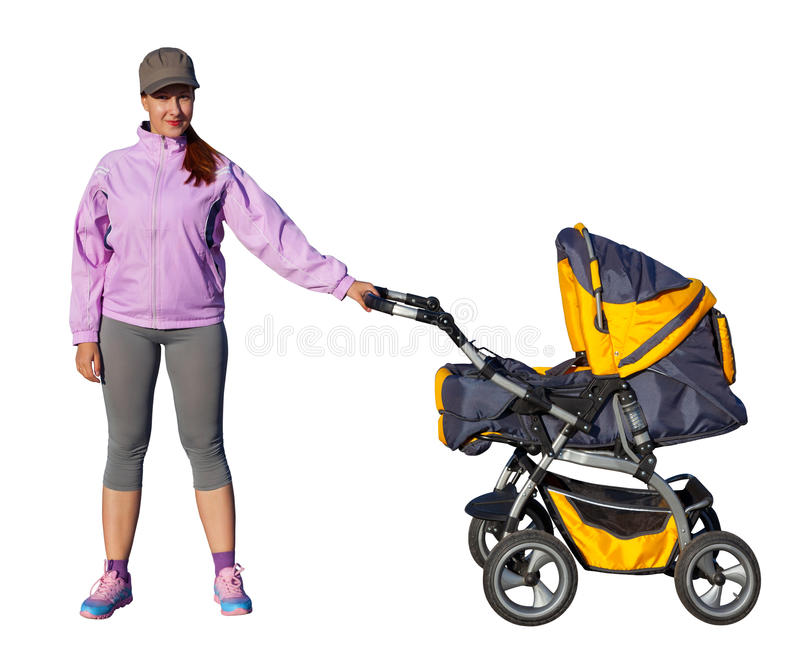 A Young mother athlete with a baby buggy. Isolated on white background stock photo