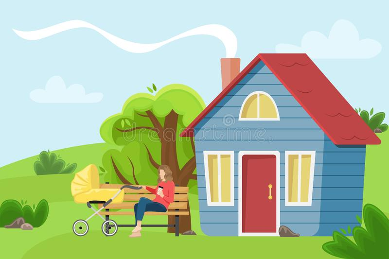 Young mother with a baby carriage sitting on a bench near the village cottage. Flat vector illustration. vector illustration