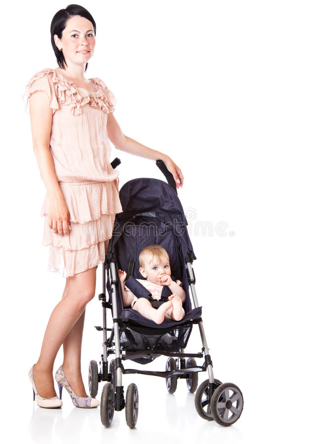 Download Young Mother With Baby In Perambulator Stock Image - Image: 14739675