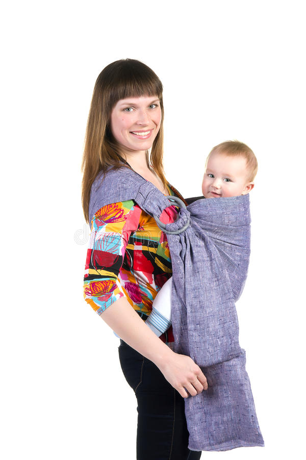 Download Young Mother With Baby In Sling Stock Photo - Image: 24074710