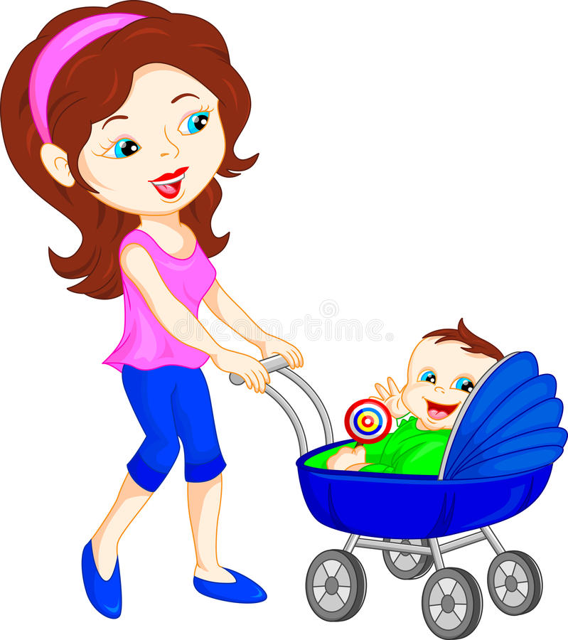 Young mother with baby in stroller. Vector illustration of young mother with baby in stroller stock illustration