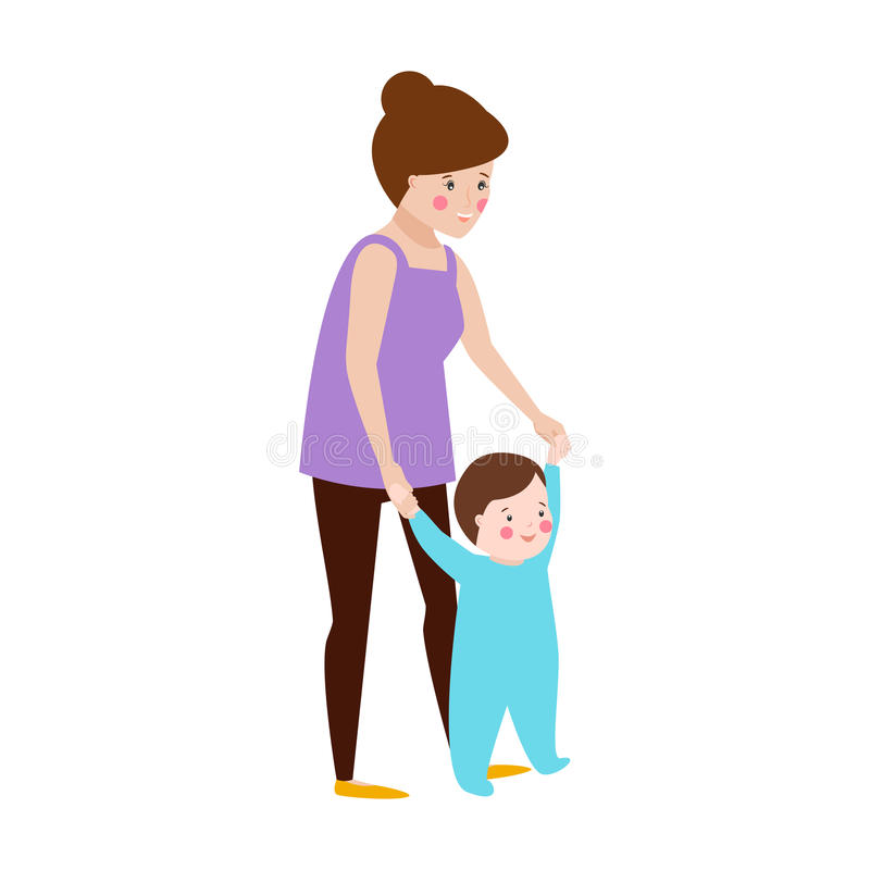 Young mother and baby vector character vector illustration