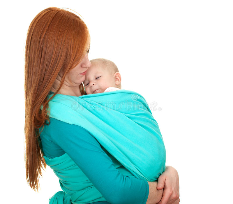 Young Mother Carrying Baby Boy In Sling Stock Image
