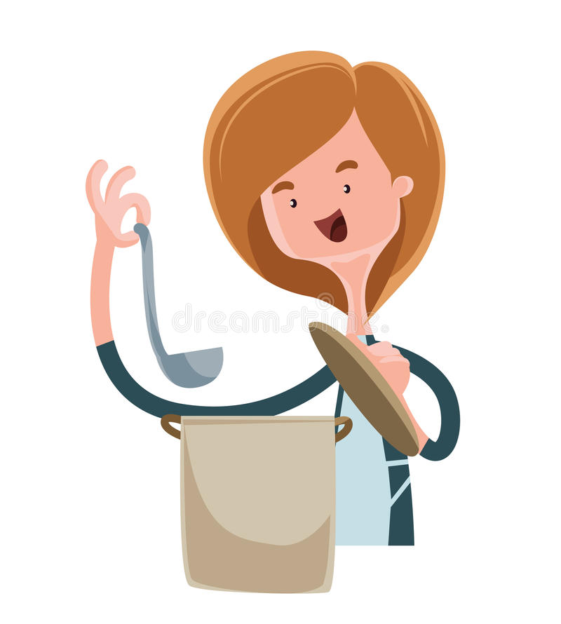 Young mother cooking illustration cartoon character stock illustration