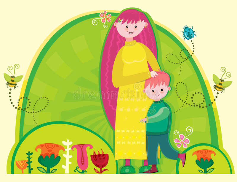 A young mother with a cute son royalty free illustration