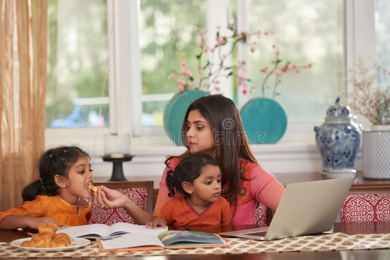 Busy mother stock photos