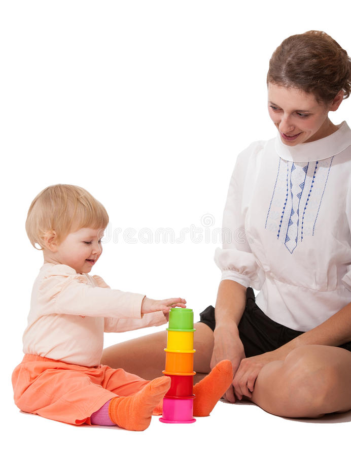 Young mother and her daughter playing stock photos