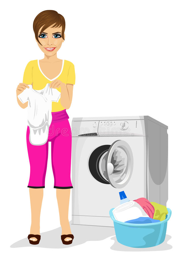 Young mother holding baby vest standing next to washing machine. Young mother holding baby vest standing next to a washing machine stock illustration
