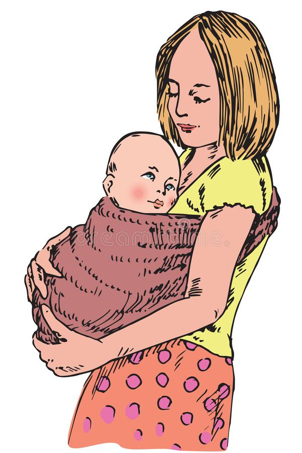 Young mother holding her child on hands in sling, hand drawn doodle royalty free illustration
