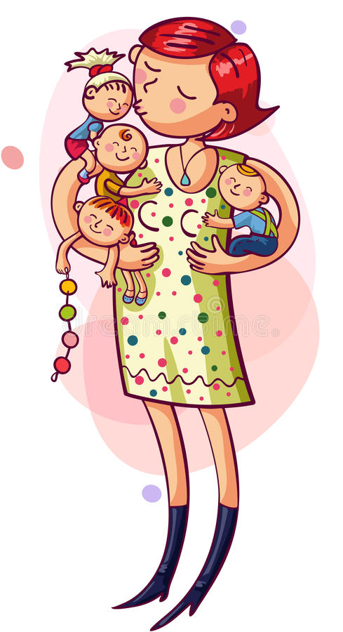 Mother with kids royalty free illustration