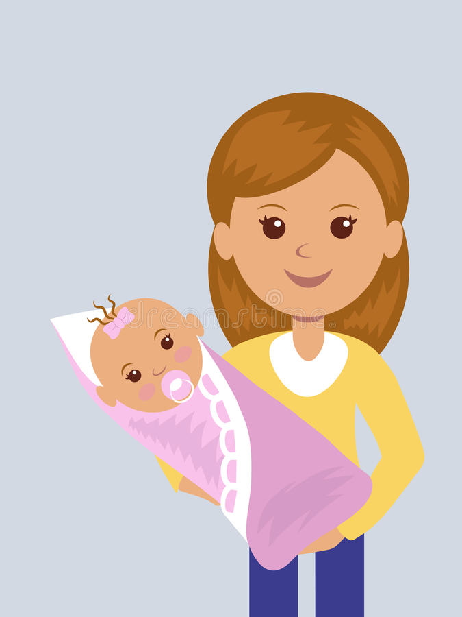 Young mother with a newborn baby in her arms. vector illustration
