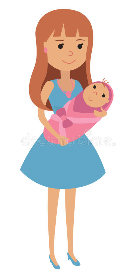 Young mother with a newborn baby in her arms, wrapped in a blanket. Vector illustration of a woman with a newborn baby stock illustration