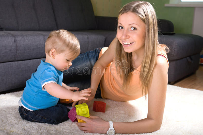 Download Young Mother Playing With Baby Boy Stock Photo - Image: 21939350