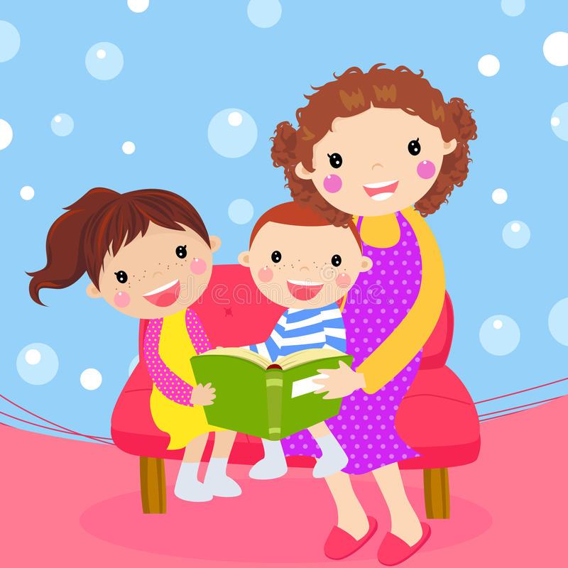 Young mother reading book to her children stock illustration