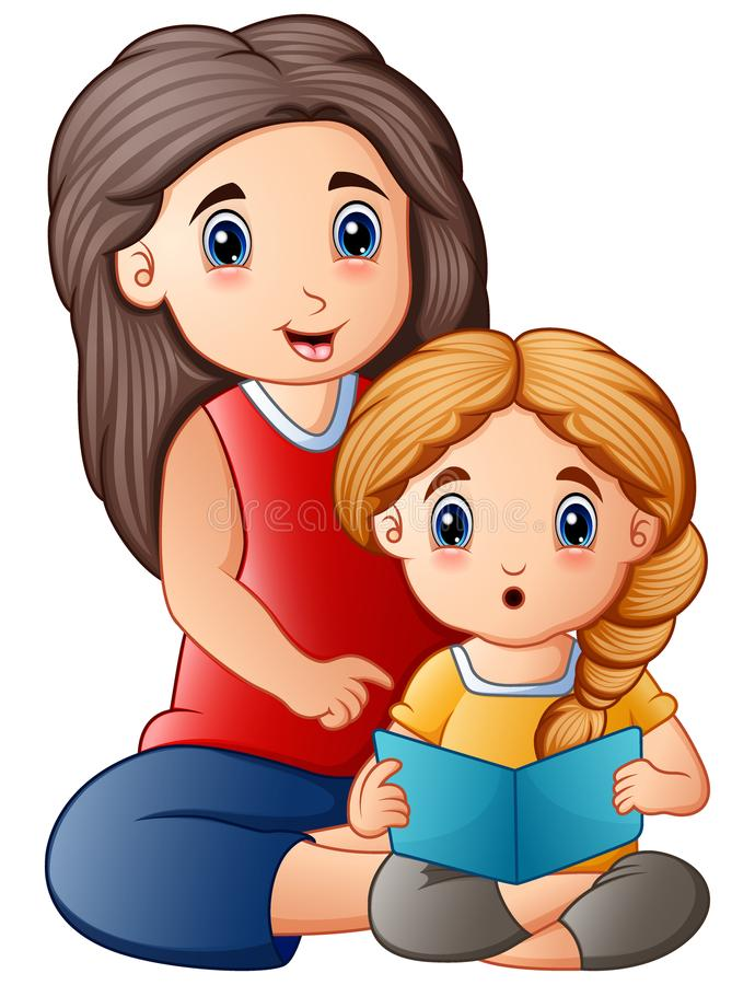 Young mother reading book to her daughter vector illustration