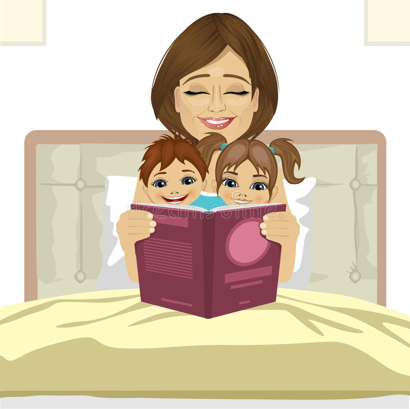 Young mother reading tale story to her children sitting together on bed stock illustration
