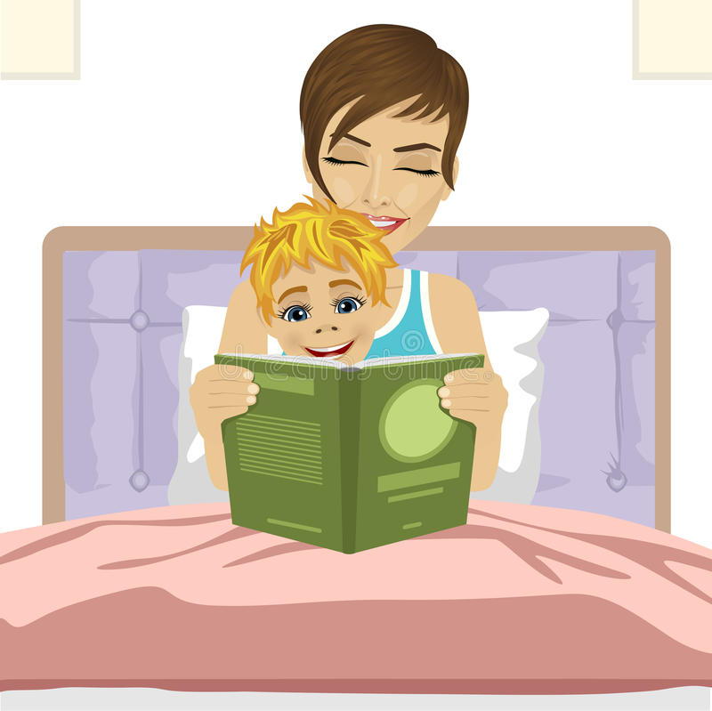 Young mother reading tale story to her son together sitting on bed royalty free illustration