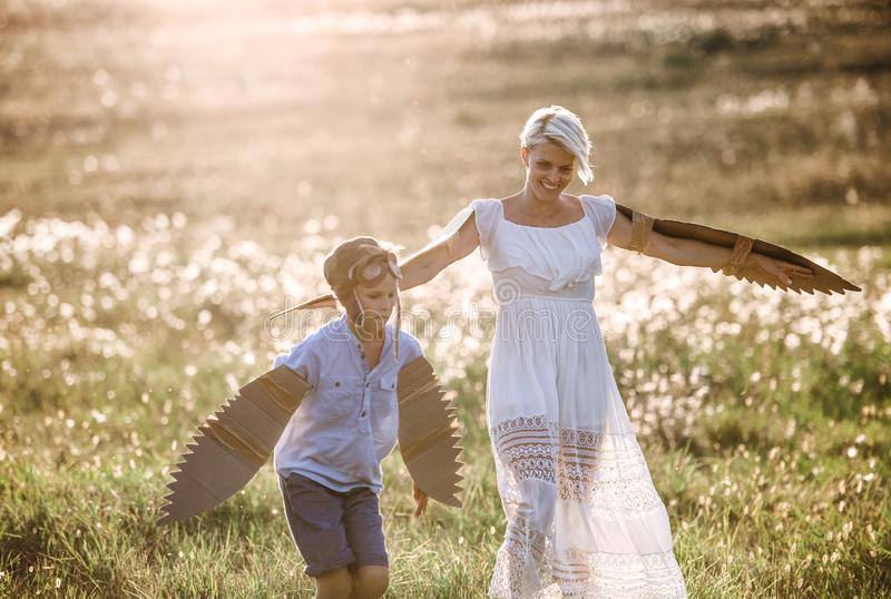 Young mother with small son playing on a meadow in nature. stock photography