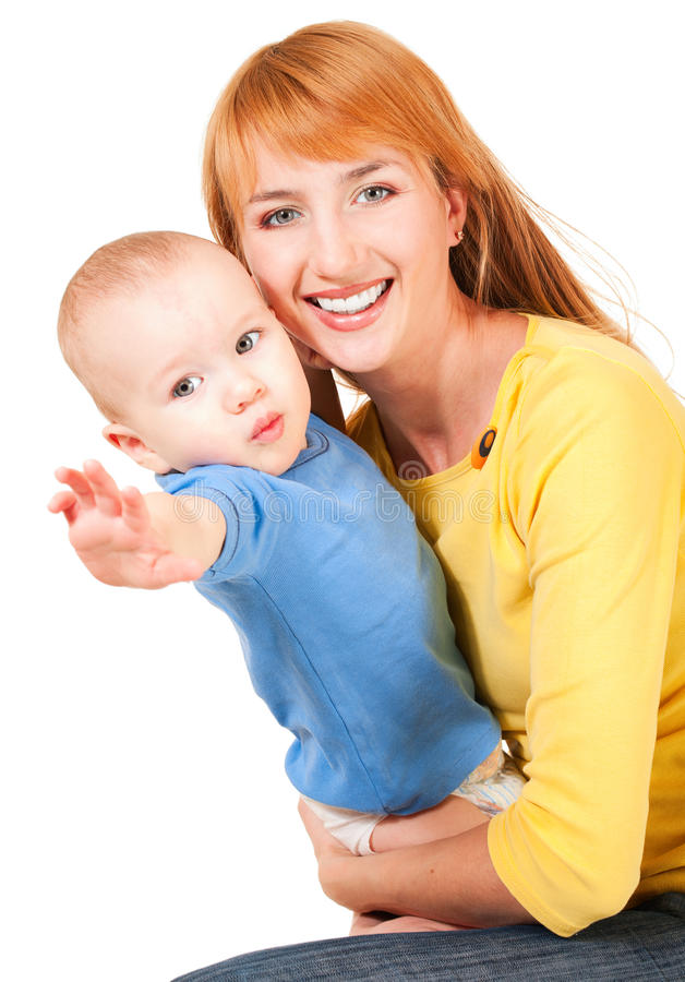 Young mother and son reaching out stock image