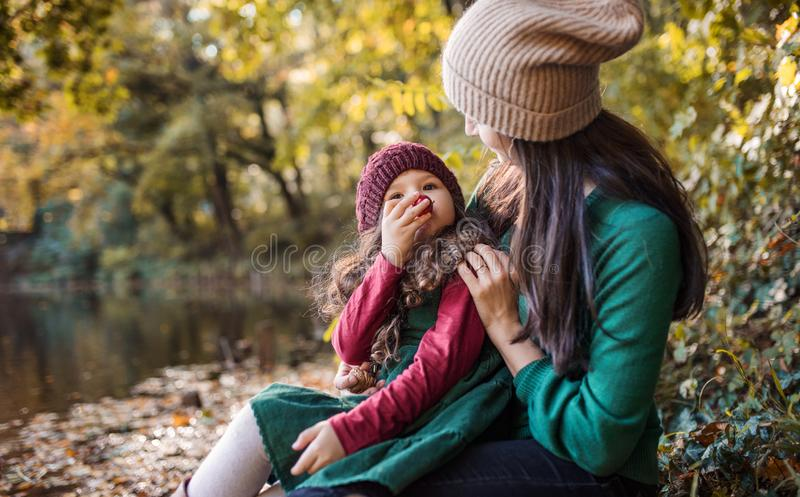 A young mother with a toddler daughter hugging and kissing in forest in autumn nature. royalty free stock photography