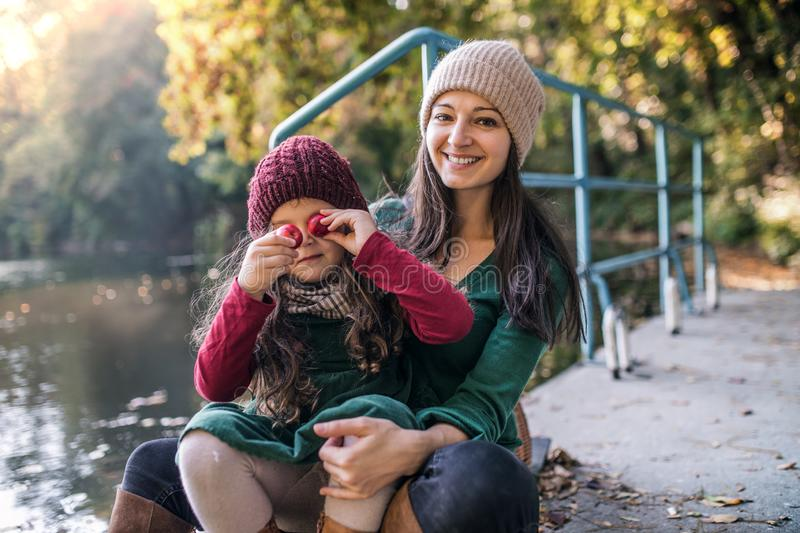 A young mother with a toddler daughter sitting in forest in autumn nature. royalty free stock images