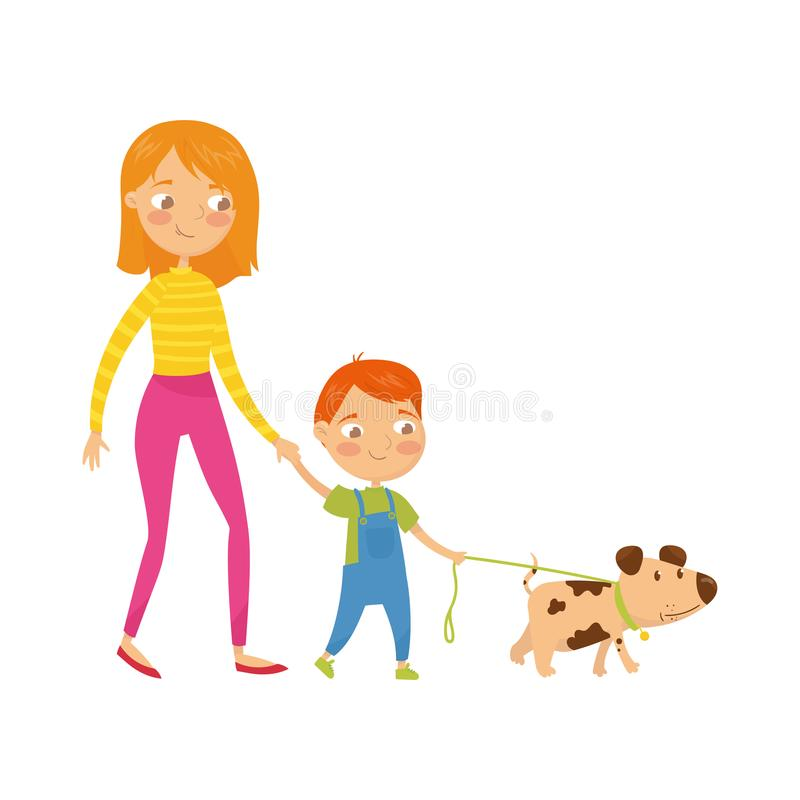 Young mother walking with her cute son and little puppy. Cartoon character of woman, boy and dog. Daily routine. Family vector illustration