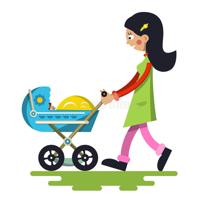Free Young Mother With Baby On Pram. Royalty Free Stock Photography - 85839237