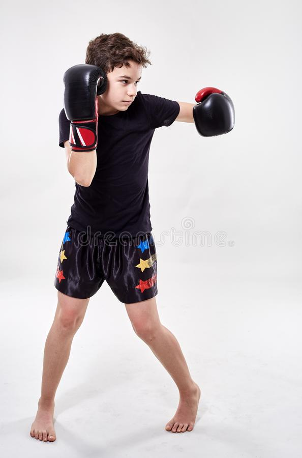 Young muay thai fighter. Young boy muay thai fighter in various postures royalty free stock photography