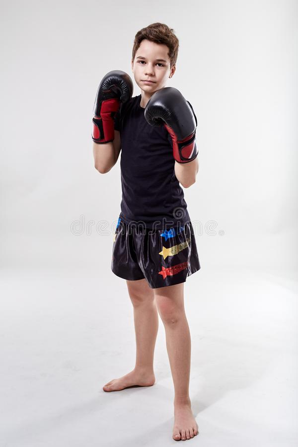 Young muay thai fighter. Young boy muay thai fighter in various postures stock photography