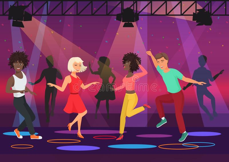 Young multi ethic people couples dancing in colorful spotlights at disco club night party. Cartoon vector illustration. Young multi ethic people couples dancing royalty free illustration