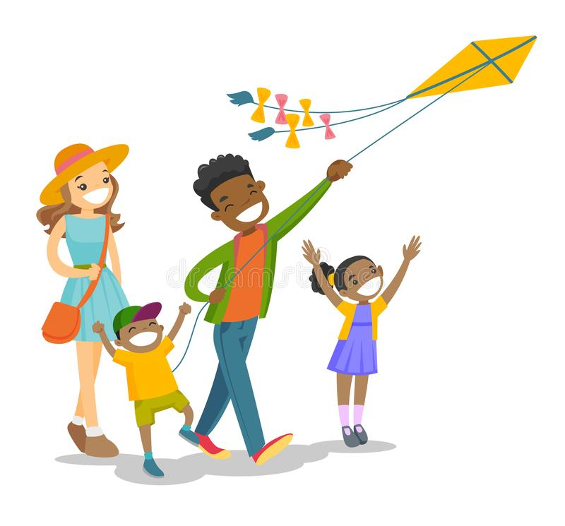 Young multiethnic family playing with a kite. Happy multiethnic family with two biracial kids having fun while flying kite on family vacation. Young family stock illustration
