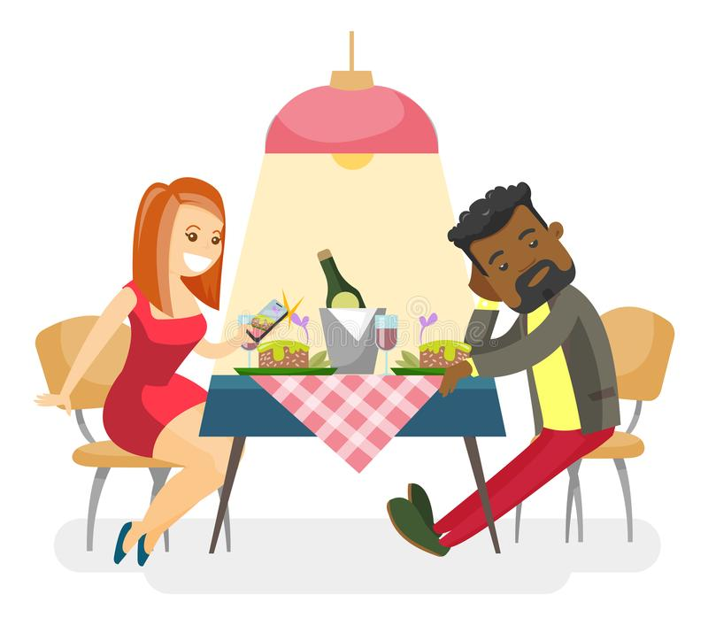 Young multiracial couple at romantic date. vector illustration
