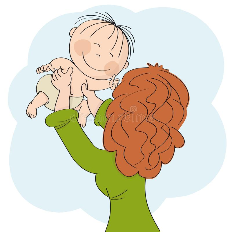 Young mum playing with her little baby, holding him or her in her hands high up in the air. Child is smiling happily. vector illustration