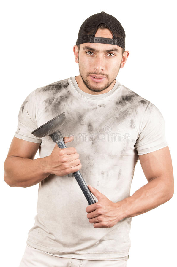 Young muscular latin janitor. Holding plunger isolated on white royalty free stock photos