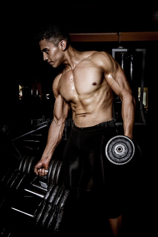 Young muscular man in gym stock photo