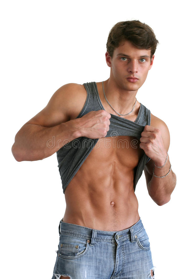 Young Muscular Man Showing His Abs