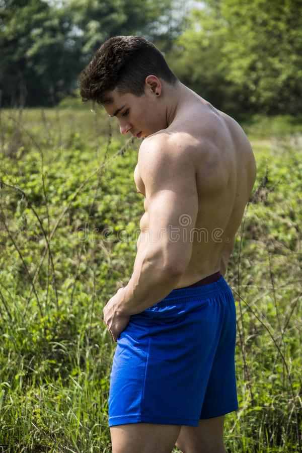 Young Muscular Shirtless Hunk Man Outdoor in Nature royalty free stock image