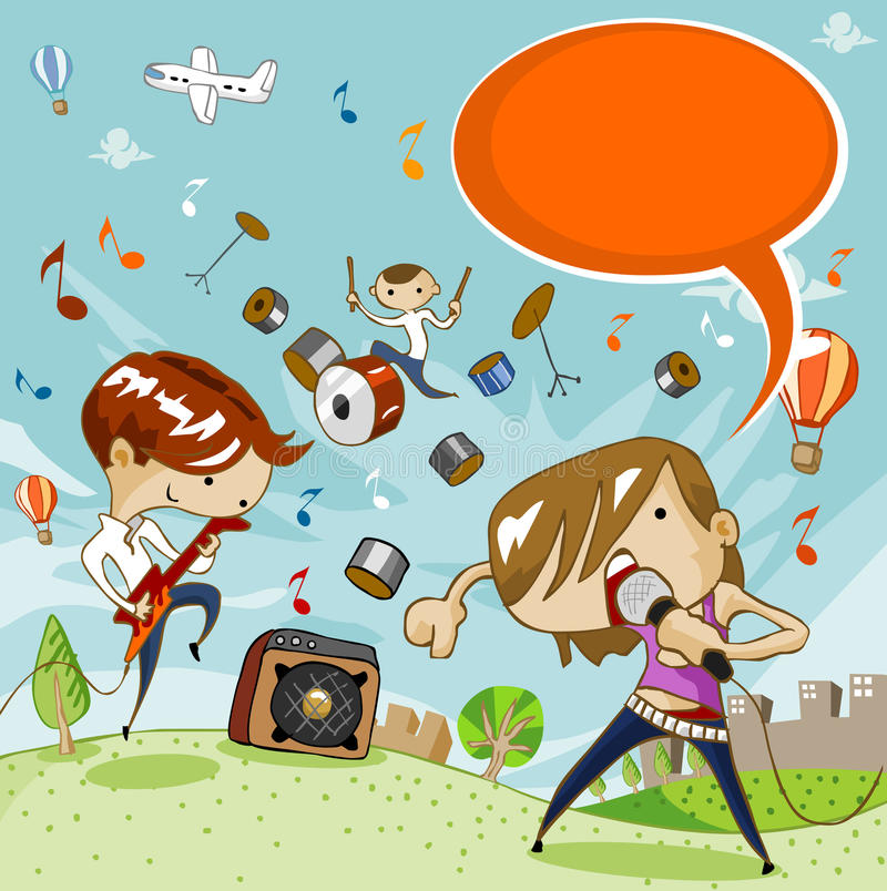 Young Music Concert Festival stock illustration
