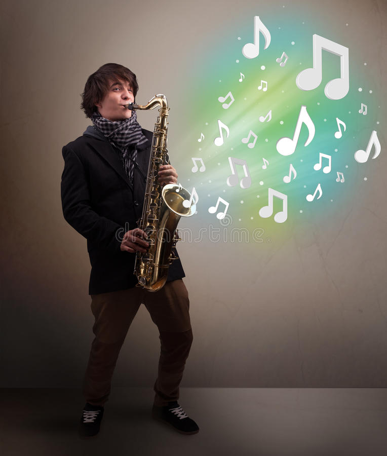Young musician playing on saxophone while musical notes exploding. Attractive young musician playing on saxophone while musical notes exploding stock images