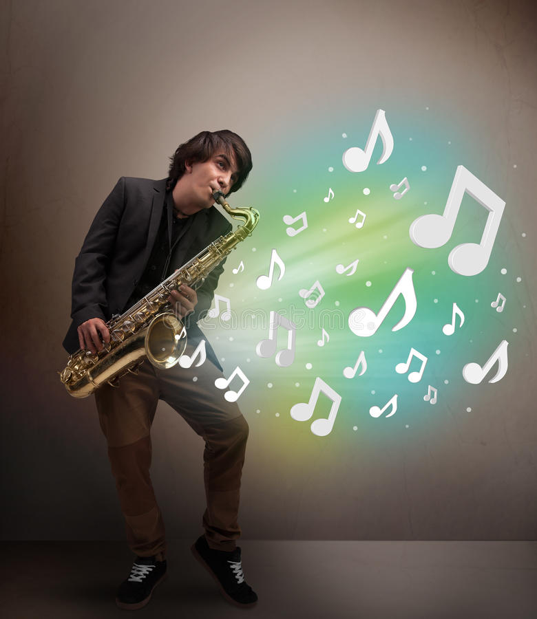 Young musician playing on saxophone while musical notes exploding royalty free stock photos